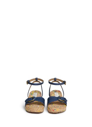 Figure View - Click To Enlarge - Stella Mccartney Kids - 'Linda' paint splatter cork wedge denim kids sandals