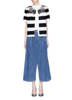 STELLA JEAN'Planner' jewelled stripe cotton knit cardigan