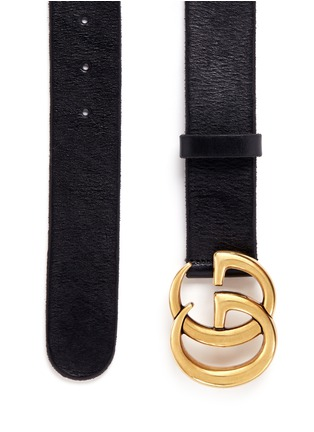 Detail View - Click To Enlarge - Gucci - GG logo buckle leather belt