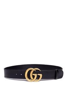 GucciGG logo buckle leather belt