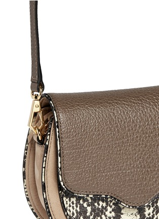 Detail View - Click To Enlarge - Rebecca Minkoff - 'Mini Suki' python embossed panel suede saddle bag