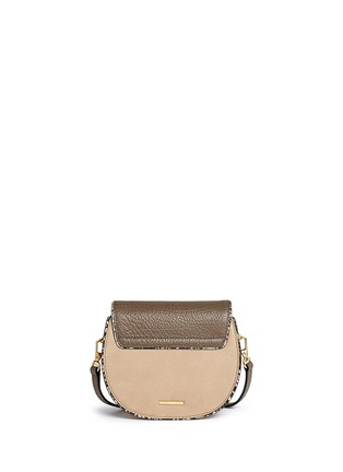 Back View - Click To Enlarge - Rebecca Minkoff - 'Mini Suki' python embossed panel suede saddle bag