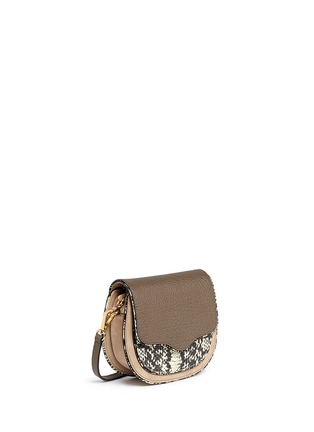 Front View - Click To Enlarge - Rebecca Minkoff - 'Mini Suki' python embossed panel suede saddle bag