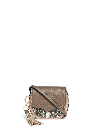 Main View - Click To Enlarge - Rebecca Minkoff - 'Mini Suki' python embossed panel suede saddle bag