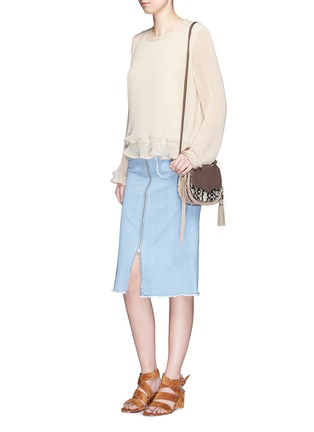 Figure View - Click To Enlarge - Rebecca Minkoff - 'Mini Suki' python embossed panel suede saddle bag