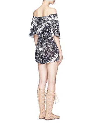 背面 - 点击放大 - ALICE + OLIVIA - RMP花卉印花露肩短连体裤