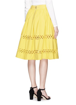 Back View - Click To Enlarge - alice + olivia - 'Morina' lattice trim poplin flare skirt