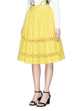 Front View - Click To Enlarge - alice + olivia - 'Morina' lattice trim poplin flare skirt