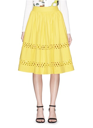 Main View - Click To Enlarge - alice + olivia - 'Morina' lattice trim poplin flare skirt
