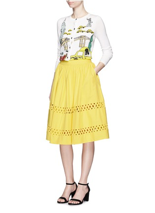Figure View - Click To Enlarge - alice + olivia - 'Morina' lattice trim poplin flare skirt