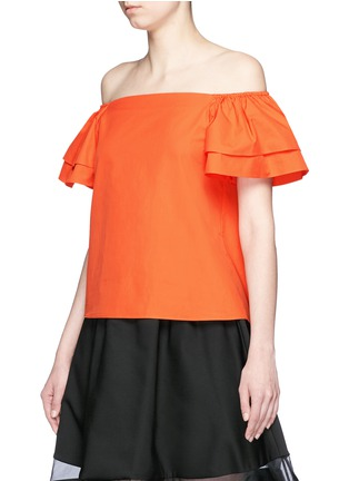 Front View - Click To Enlarge - alice + olivia - 'Loryn' ruffle sleeve poplin off-shoulder top