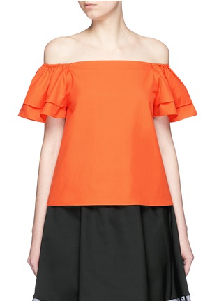Main View - Click To Enlarge - alice + olivia - 'Loryn' ruffle sleeve poplin off-shoulder top