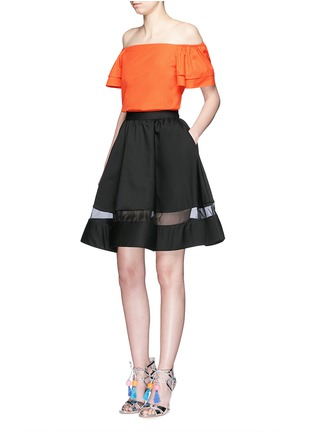 Figure View - Click To Enlarge - alice + olivia - 'Loryn' ruffle sleeve poplin off-shoulder top