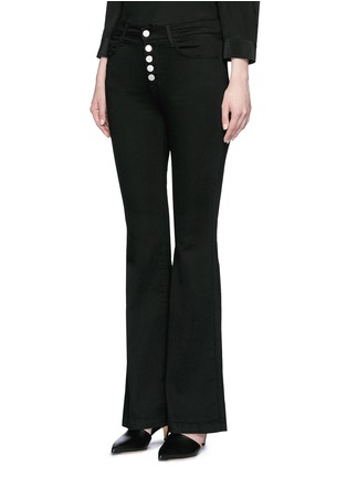 Front View - Click To Enlarge - J Brand - 'Maria' exposed button flared pants
