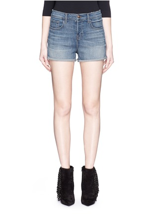 Detail View - Click To Enlarge - J Brand - 'Gracie' high rise roll cuff denim shorts
