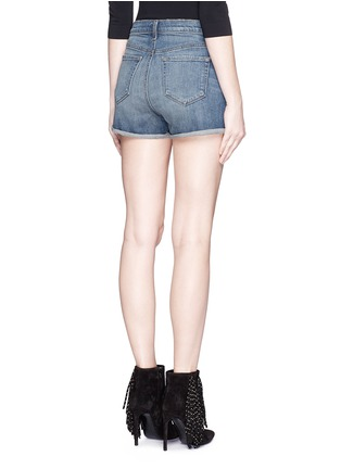 Back View - Click To Enlarge - J Brand - 'Gracie' high rise roll cuff denim shorts