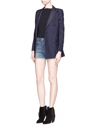 Figure View - Click To Enlarge - J Brand - 'Gracie' high rise roll cuff denim shorts