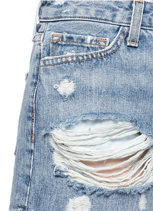 Detail View - Click To Enlarge - J Brand - 'Gracie' high rise roll cuff ripped denim shorts