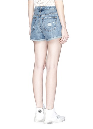 Back View - Click To Enlarge - J Brand - 'Gracie' high rise roll cuff ripped denim shorts
