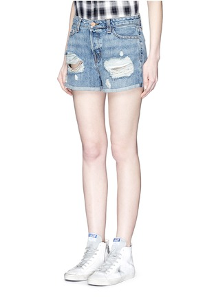 Front View - Click To Enlarge - J Brand - 'Gracie' high rise roll cuff ripped denim shorts