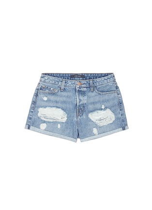 Main View - Click To Enlarge - J Brand - 'Gracie' high rise roll cuff ripped denim shorts