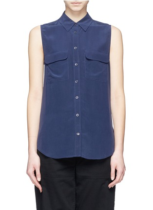 Main View - Click To Enlarge - Equipment - 'Slim Signature' sleeveless silk shirt