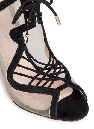 细节 - 点击放大 - NICHOLAS KIRKWOOD - 绒面皮拼接系带高跟鞋