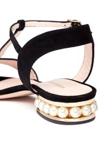 'Casati' pearl heel T-strap suede sandals