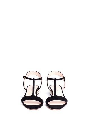 Front View - Click To Enlarge - Nicholas Kirkwood - 'Casati' pearl heel T-strap suede sandals
