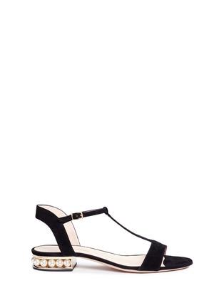 Main View - Click To Enlarge - Nicholas Kirkwood - 'Casati' pearl heel T-strap suede sandals