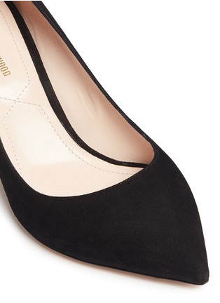 Detail View - Click To Enlarge - Nicholas Kirkwood - 'Maeva' faux pearl heel suede pumps