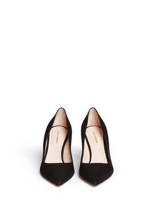 Front View - Click To Enlarge - Nicholas Kirkwood - 'Maeva' faux pearl heel suede pumps