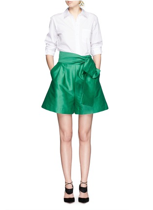 Figure View - Click To Enlarge - ISA ARFEN - Wrap belt cotton-silk shorts