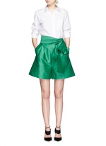 Wrap belt cotton-silk shorts