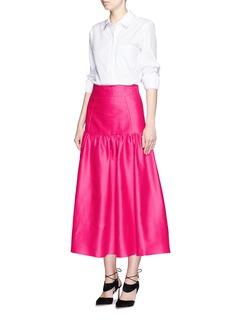 ISA ARFENDrop waist cotton-silk midi skirt
