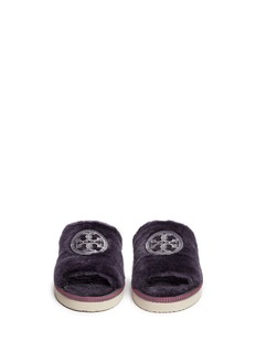 TORY BURCH Logo patch shearling slippers