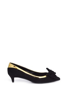 GIUSEPPE ZANOTTI DESIGN 'Yvette' metallic trim bow suede pumps
