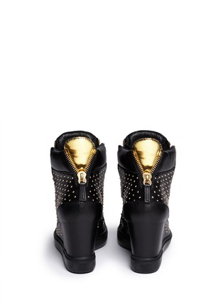 Back View - Click To Enlarge - Giuseppe Zanotti Design - 'Lorenz' stud leather wedge sneakers