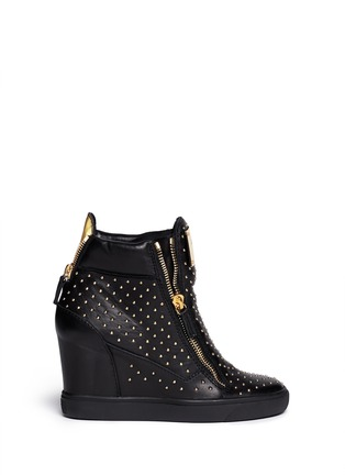 Main View - Click To Enlarge - Giuseppe Zanotti Design - 'Lorenz' stud leather wedge sneakers