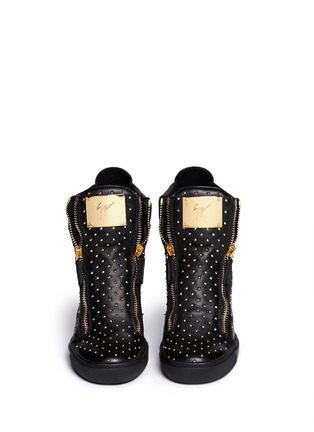 Figure View - Click To Enlarge - Giuseppe Zanotti Design - 'Lorenz' stud leather wedge sneakers