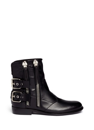 Main View - Click To Enlarge - Giuseppe Zanotti Design - 'Cobain' Motorcycle buckle boots