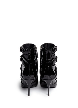 Back View - Click To Enlarge - Giuseppe Zanotti Design - 'Yvette' patent leather buckle boots