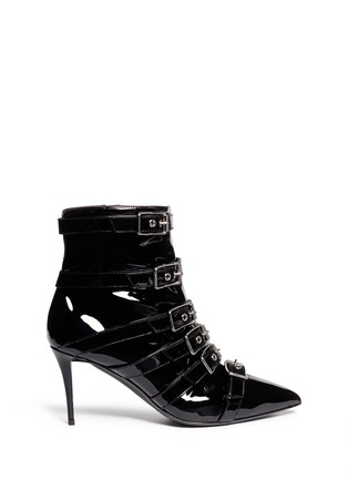 Main View - Click To Enlarge - Giuseppe Zanotti Design - 'Yvette' patent leather buckle boots