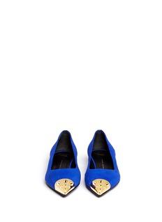 GIUSEPPE ZANOTTI DESIGN'Yvette' stud metal toe cap suede flats