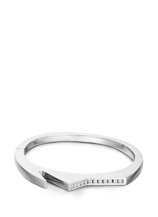 Lynn Ban-'Handcuff 3' diamond sterling silver hinged bangle
