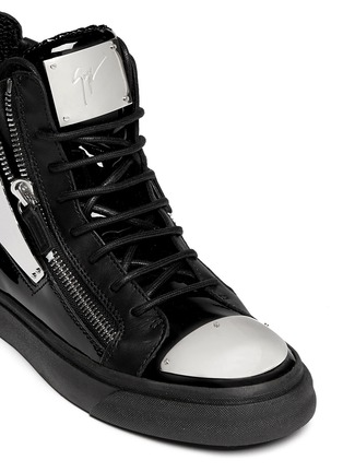 Detail View - Click To Enlarge - Giuseppe Zanotti Design - 'London' metal plate patent leather sneakers