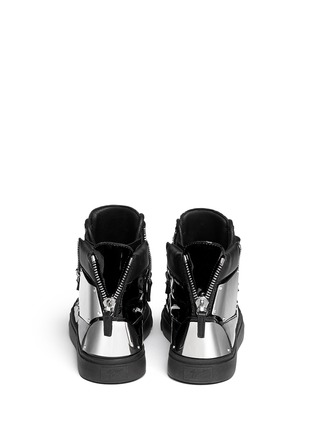 Back View - Click To Enlarge - Giuseppe Zanotti Design - 'London' metal plate patent leather sneakers