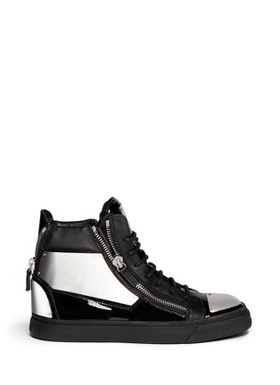 Main View - Click To Enlarge - Giuseppe Zanotti Design - 'London' metal plate patent leather sneakers