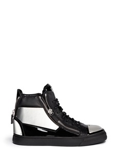 GIUSEPPE ZANOTTI DESIGN'London' metal plate patent leather sneakers