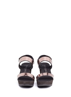 PEDRO GARCIA 'Feist' metallic cubic strap platform wedge sandals